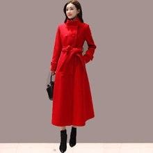 Двубортное модное длинное шерстяное пальто для женщин Manteau Femme осень зима Макси элегантное шерстяное пальто Женская куртка пальто C5977
