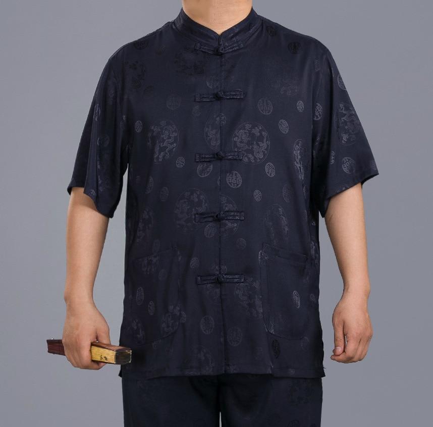 2019 New Style MEN'S Short Sleeve Shirt Chinese Costume Chinese Style Brocade Tops Chinese-style Stand Collar Men's Summer Wear