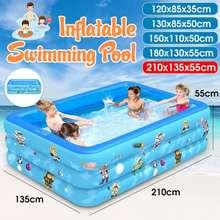 Children Pool Swimming Pool Indoor Game120/130/150/180/210Cm Rectangular Inflatable Paddling Bathing Tub Outdoor Summer For Kids