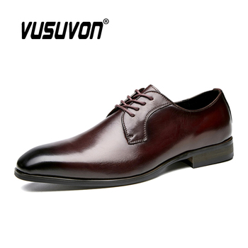 Handmade Men Shoes Genuine Cow Leather Formal Shoes Gentleman Dress Business Luxury Cowhide Wedding Suits Shoes Men Classic