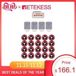 Retekess 4 pçs relógio receptor + 5 teclas botão de chamada 20pcs restaurante sistema chamada cozinha pager serviço ao cliente