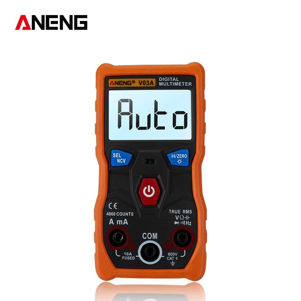 Multímetro de datos aneng-v03a Ncv Digital Lcd voltímetro CA/CC rango automático diodo resistencia frecuencia probador de capacitancia al por mayor