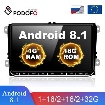 Podofo 2din Android Car Radio GPS Car Multimedia Player 2 DIN Autoradio For VW Volkswagen SKODA GOLF PASSAT POLO SEAT Car stereo image