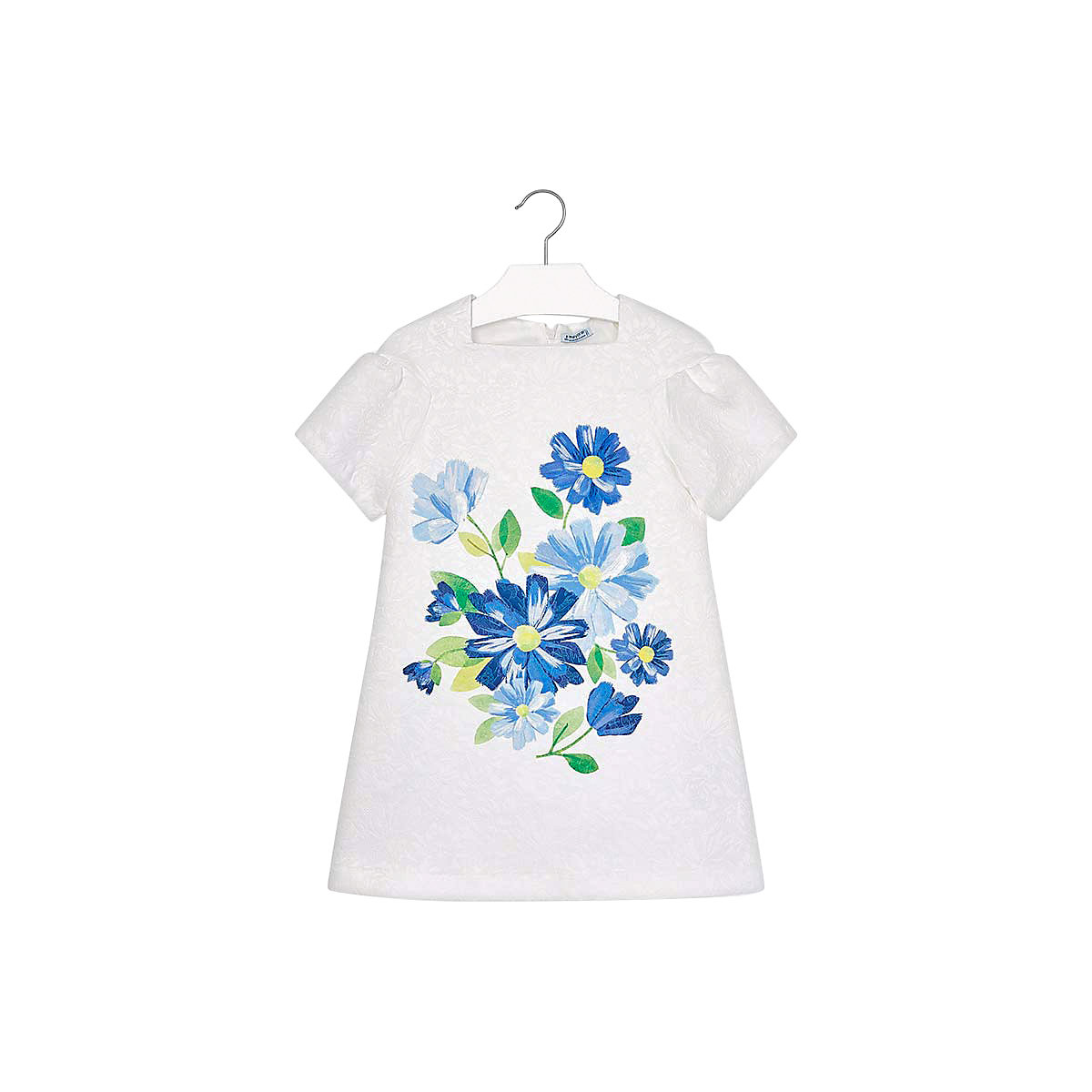 Фото - MAYORAL Dresses 10691798 Girl Children fitted pleated skirt Blue Polyester Casual Floral Knee-Length Short Sleeve box pleated floral volume skirt