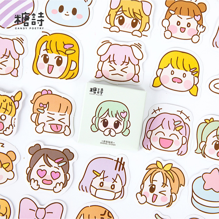 45 Pcs/box Cute Girl Journal Decorative Stickers Kawaii Scrapbooking Stick Label Diary Stationery Album Stickers