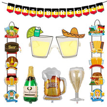 Happy Oktoberfest Cups Plates Disposable Tableware Set Banner Cupcake Toppers Door Hanger Beer Theme Party Supply Decorations(China)