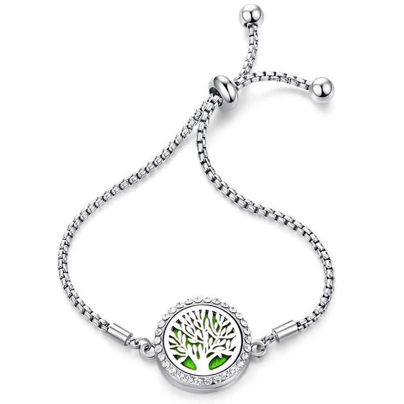 Zircon Tree Of Life Perfume Bracelet Stainless Steel Charm Adjustable Aromatherapy Essential Oil Diffuser Locket Crystal Bangles