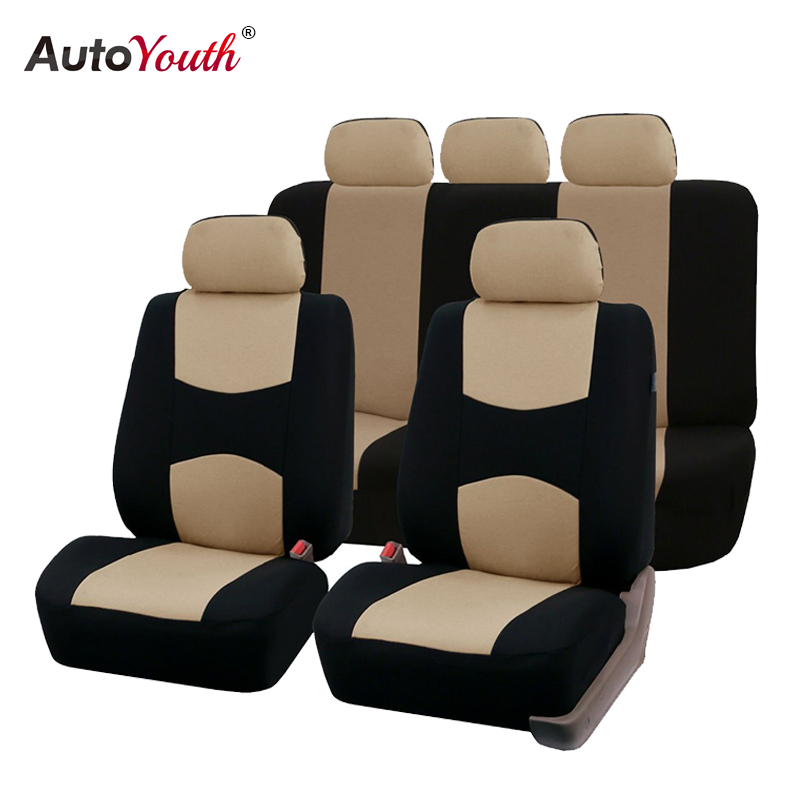 Airbag Compatible Anti-Slip Black//Gray Universal Full Set Auto Seat Covers Embossed Cloth Fabric Car Seat Accessories