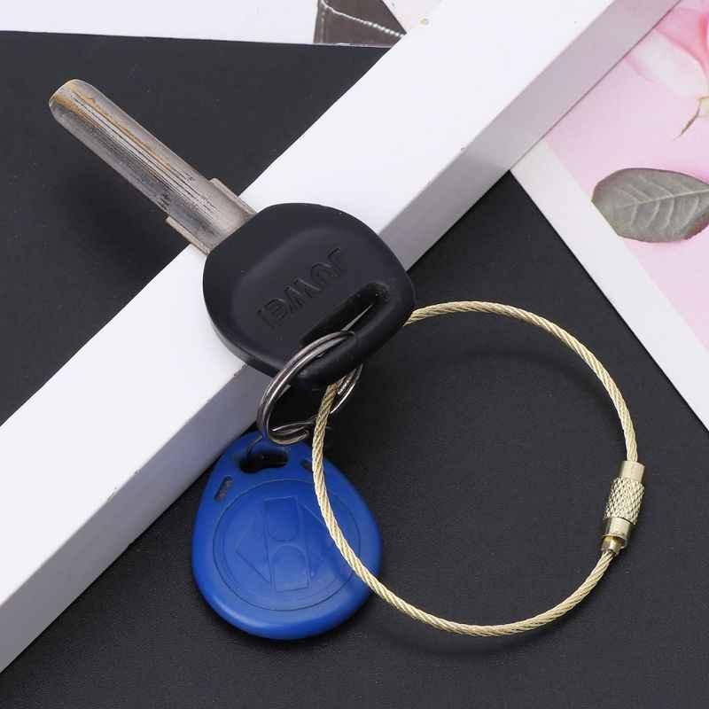 Chaîne de porte-clés de câble de porte-clés de fil d'acier inoxydable polychrome corde extérieure de boucle d'étiquette de bagage d'edc