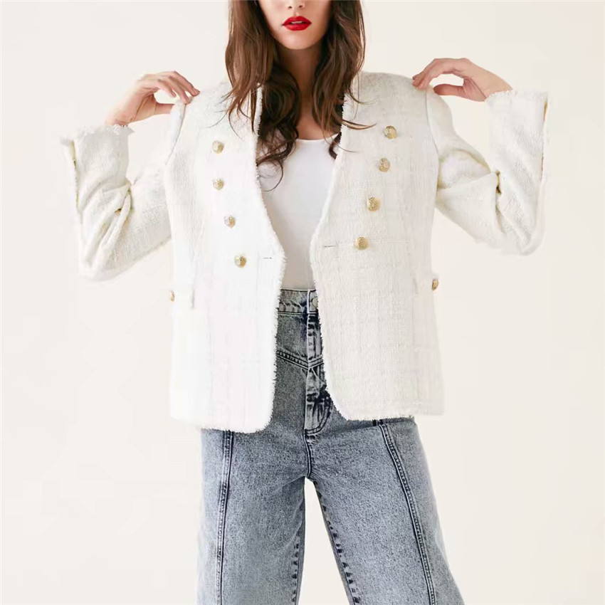 2019 Fashion Women sweet V Neck tweed white blazer Double breasted pockets tassel hem female loose casual outwear chic tops
