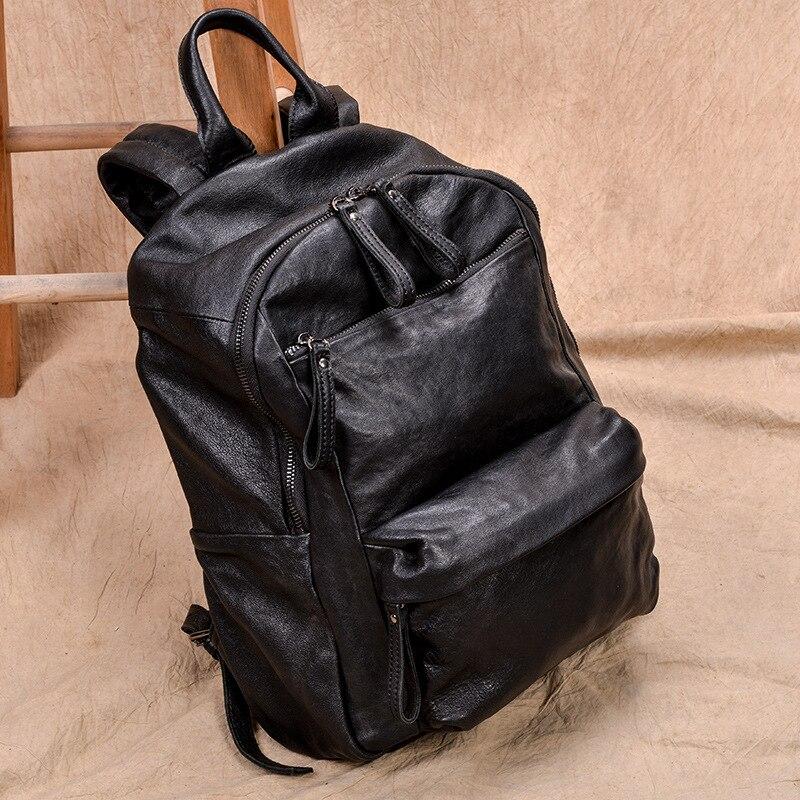 Pele de cordeiro Mochila Multifuncional de Couro Genuíno Homens Mochila Grande Capacidade bolsa de Computador Laptop Saco de Escola Estudante Mochila De Viagem