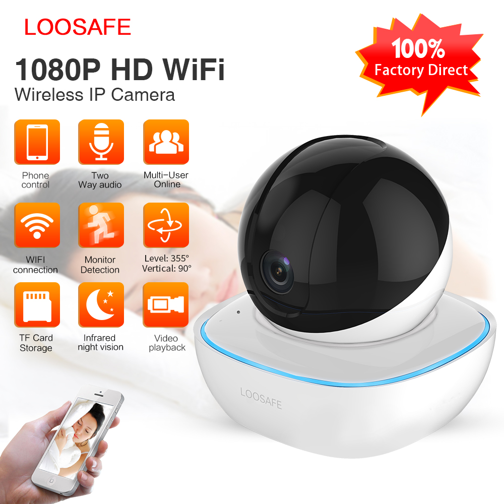 LOOSAFE Wifi Security Wireless IP Camera 1080P Home Security Automatic Tracking Alarm IR Surveillance CCTV Wifi Camera