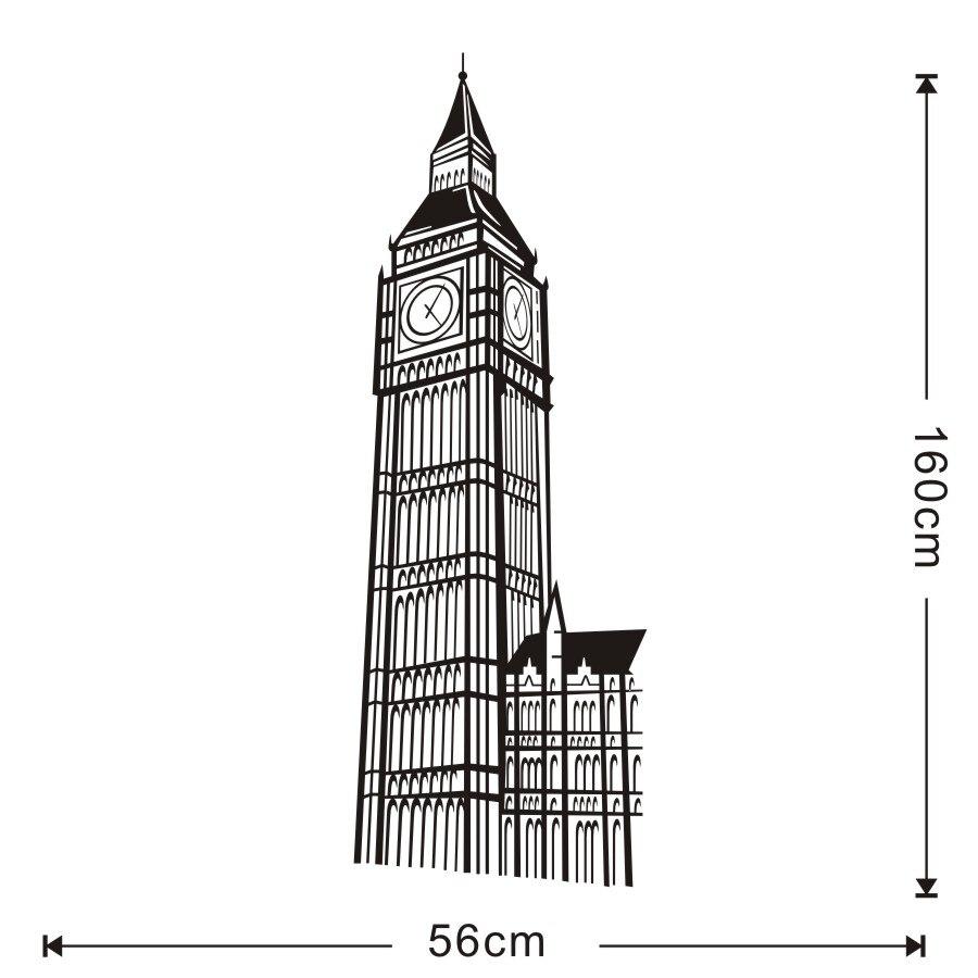 London Landmark Building Big Ben Clock Stickers Decal on the wall For Kids Room Living Room Home Decor Wall Art Vinyls Wallpaper (1)