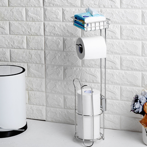 Image 2 - Edelstahl Wc Papier Rolle Stand Halter Bad Papier Halter mit Lagerung Regal für Zelle, Handy Freistehende