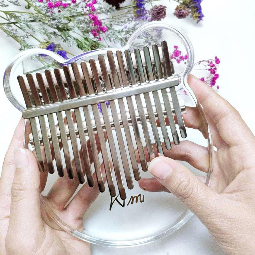 Kimi Kalimba Acrylic 17 Key Transparent  Thumb Piano With Tuner Hammer Gig Kalimba Case Manual
