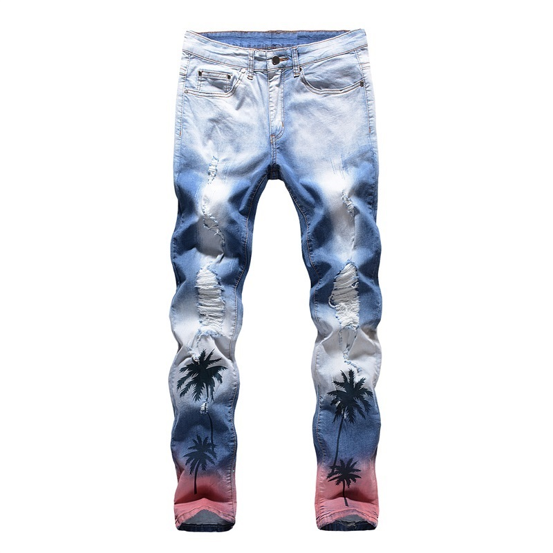Jeans Men 100% Cotton Skinny Jeans Men Fashion Ripped Restoring Ancient Ways Denim Pants#1808