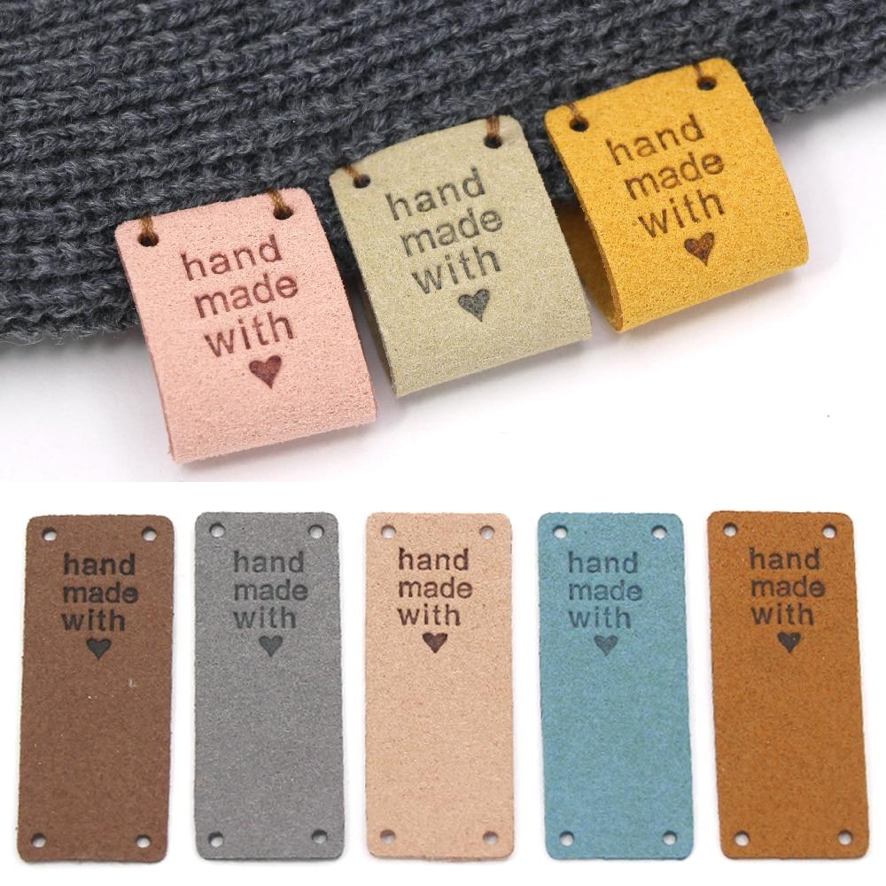 20 шт. волокно кожа теги для ручной работы с любовью этикетки для одежды шить этикетки ручной работы тег для шапки, вязанные, аксессуары для о...