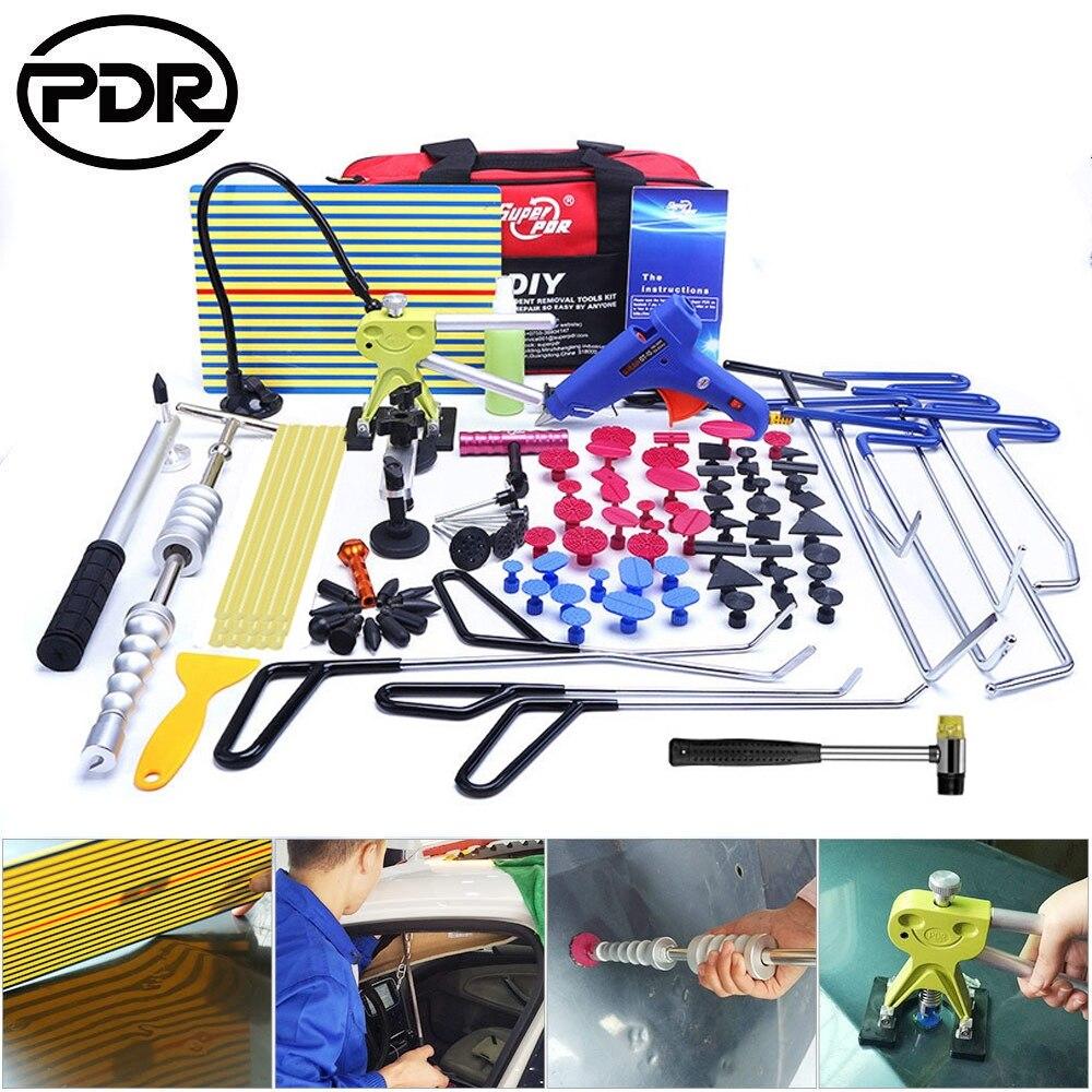 PDR Paintless Dent Repair Tool Set Car Dent Removal Repair Tool Kit Stainless Steel Push Rods Crowbar Kit Car Body Repair Tools