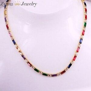 Image 3 - 5 pçs, cz corrente colar feminino gargantilha colorido cz cristal zircônia ouro/prata cor colar para mulher