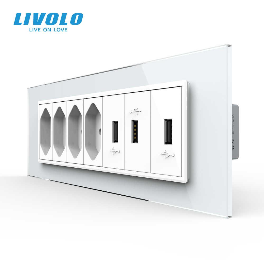 Livolo C9 USAU Standard 157.5mm luksusowe gniazdo 7gang z perłowym szkłem kryształowym, gniazdo brazylijskie, SATV, TV, COM, Tel, wtyczki USB