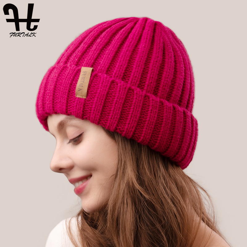 FURTALK Winter Hats for Women Knitted Velvet Beanie Hat Ladies Warm Winter Skullies Cap Men Knit Winter Hats