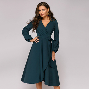 Women Vintage Sashes Bandage Office Dress Long Sleeve Sexy V neck Solid Casual A-line Party Dress 2019 Autumn New Fashion Dress 2