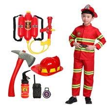2021 halloween cosplay crianças bombeiro uniforme crianças sam bombeiro papel trabalho roupas terno menino menina desempenho trajes de festa