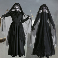 Gothic Witch Scary Bride Cosplay Halloween Costume for Women Day of The Dead Veil+Dress Devil Vampire Horror Disguise Carnival