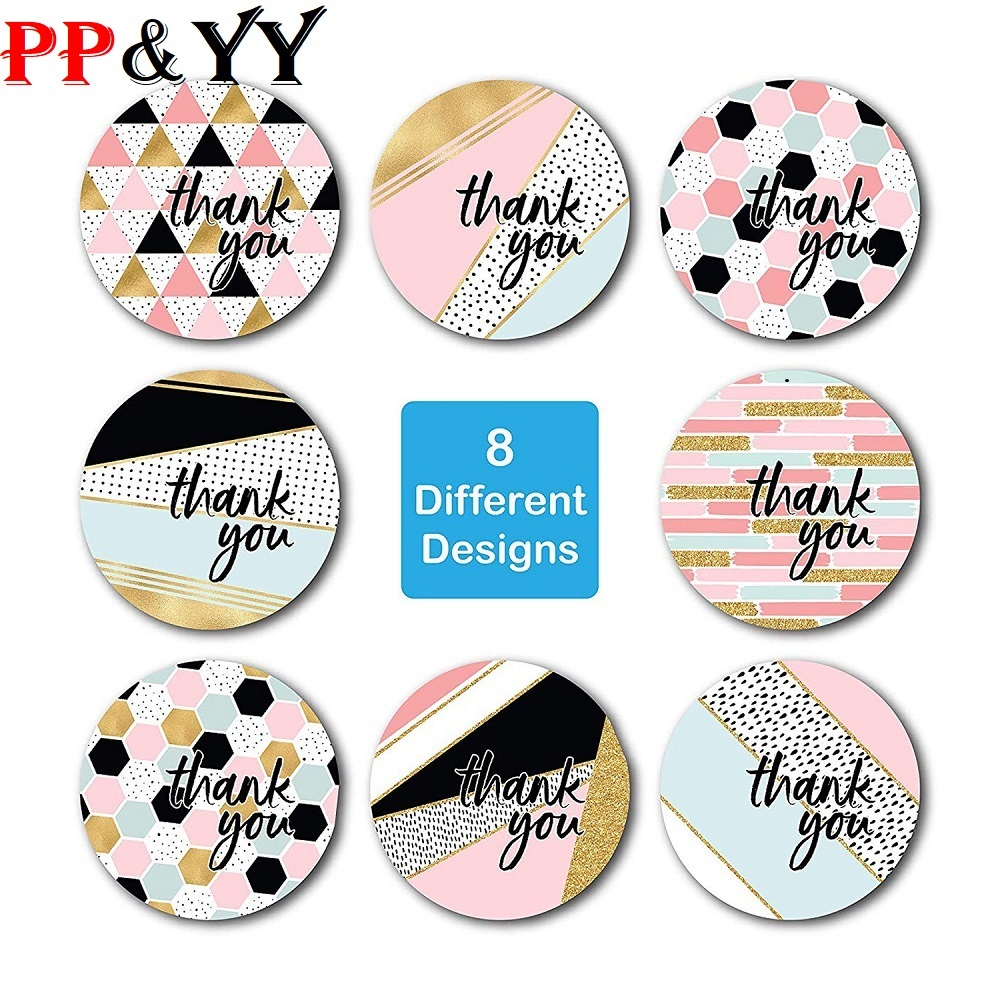 500pcs Round Pink Geometric Pattern Thank You Stickers Seal Labels Christmas Stickers School Teacher Reward Stationery Sticker