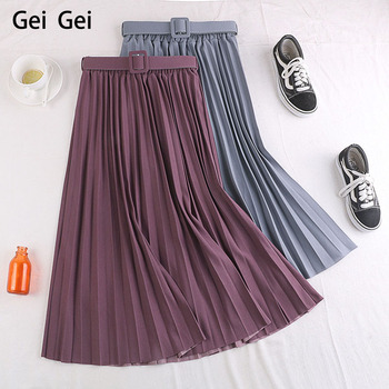 2020 summer retro mid-length skirt women autumn high waist belt free adjustable pleated student girl sober casual skirt mayoral dresses 10685167 girl children fitted pleated skirt pink polyester casual solid knee length sleeveless sleeve