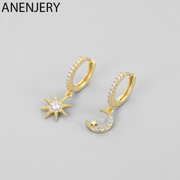 ANENJERY 925 Sterling Silver Fashion Moon Star Asymmetric Hoop Earring Micro Inlaid Zircon Earring Jewelry For Women S-E1130 1
