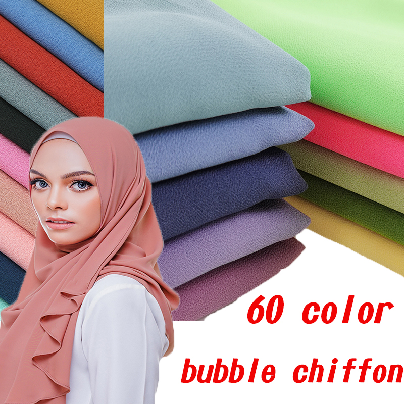 Fashion Plain Bubble Chiffon Muslim Headscarf Women Instant Hijab Scarf Islamic Foulard Shawls And Wraps Neon Head Scarf