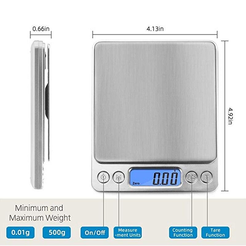 Точные цифровые весы 0,01 г/0,1 г с ЖК-дисплеем, электронные мини-весы 500 г/3000 г, весы для взвешивания чая и выпечки-1