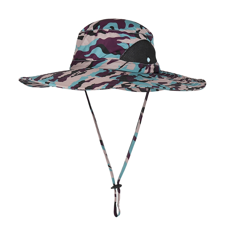 Fishing Bucket Cap with Chin String Strap Leezo Bucket Hat Lightweight Quick Drying Folding Sunshade Outdoor Fisherman Cap With Chin String