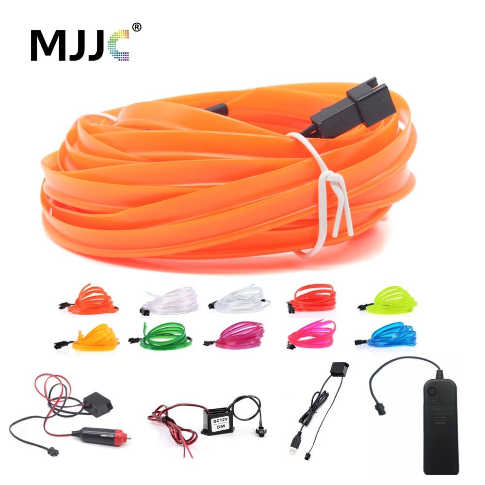 EL Wire Light 1M 2M 3M 5M LED Neon Light 3V 5V 12V EL Rope Tube LED Strip With Inverter For Car Dance Party Bike Decor Lighting