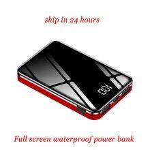 Full Screen Power Bank Waterproof 20000mah QI 3.0 External Battery Pack Portable Charger LED LCD Powerbank Mini Zmi