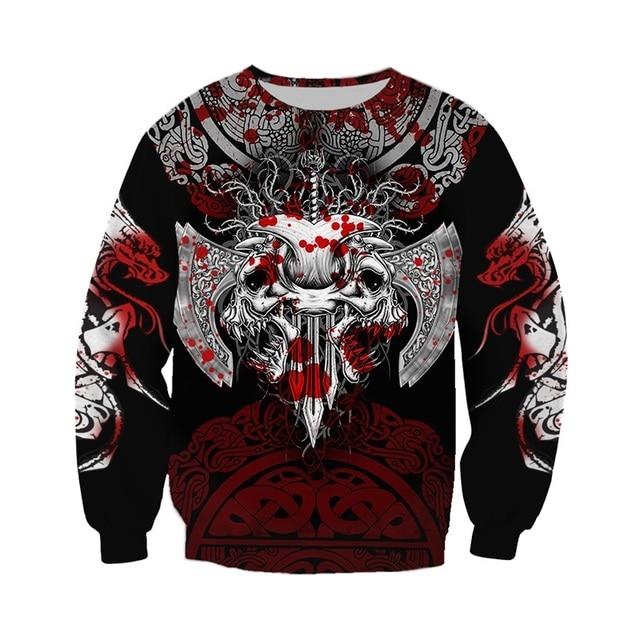 Viking Warrior Tattoo 3D Printed Hoodie/Sweatshirt/Zipper 2
