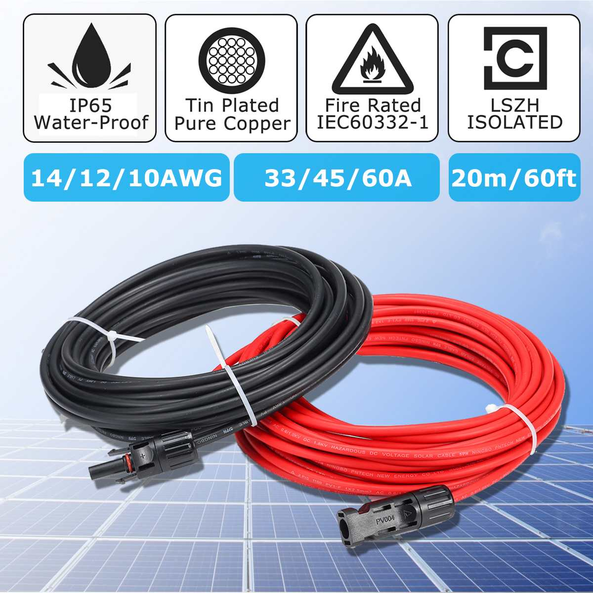 MC4 12 AWG 8 In PV Cable Adapter Kit Solar Panel Connector Female Male Set Pair