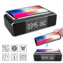 5 Вт Qi Беспроводное быстрое зарядное устройство светодиодный электронные часы-будильник температура время дисплей мобильный телефон заряд...