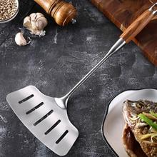 Нержавеющая сталь жареная рыба лопата с длинной ручкой кухонная утварь инструмент для приготовления пищи деревянная ручка Лопата MF999