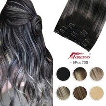 Moresoo наращивание волос клипса в лучшей длине 10-14 дюймов машина Remy Настоящее человеческое наращивание двойной уток натуральные заколки для в...