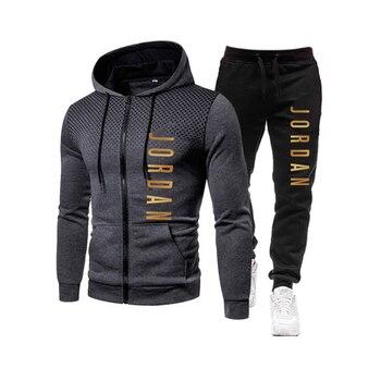 2021 fashion hot autumn/winter new menswear zipper hoodie + pants suit casual sports sportswear 4