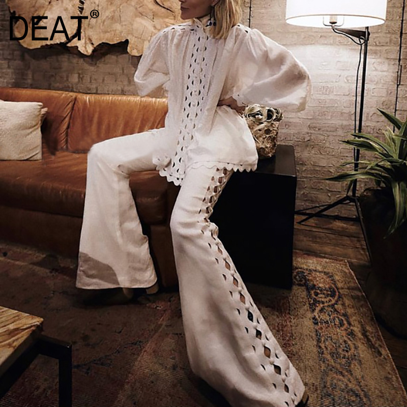 DEAT 2020 New Spring And Summer Fashion Turtleneck Lantern Sleeves Hollow Out Sexy Top Shirt And High Waist Full Lengths Pants