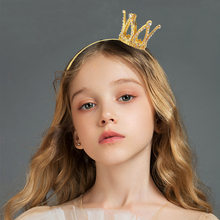 Fashion Hair Jewelry Little Girl Tiara Headband Gold Color Cute Crystal Tiara Girl Crown Hairbands Headbands for Women
