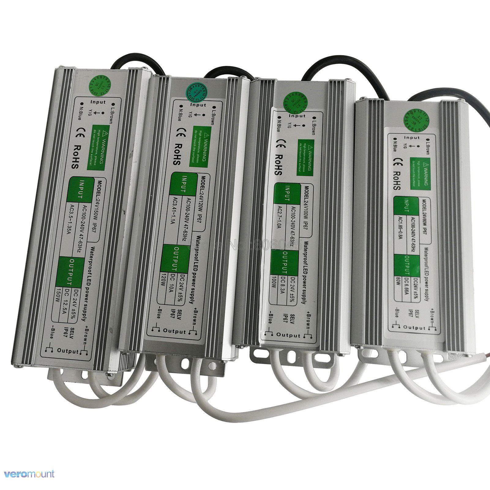 IP67 Waterproof LED Driver AC 110V /220V to DC24V Lighting Transformers Outdoor Power Supply 20W 30W 45W 50W 60W 80W 100W 150W