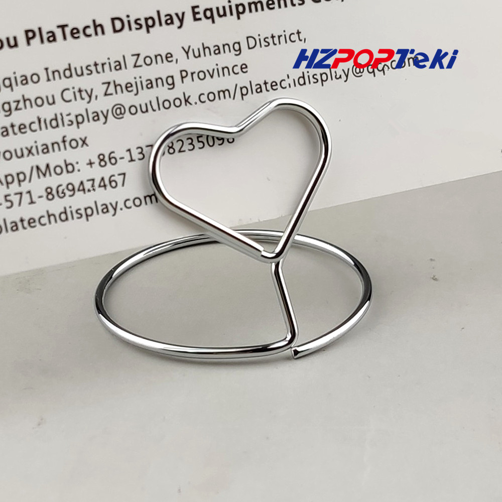 Mini Metal POP Sign Signage Price Paper Card Promotion Display Label Small Memo Wire Winding Clips Holders Heart Shape 100pcs