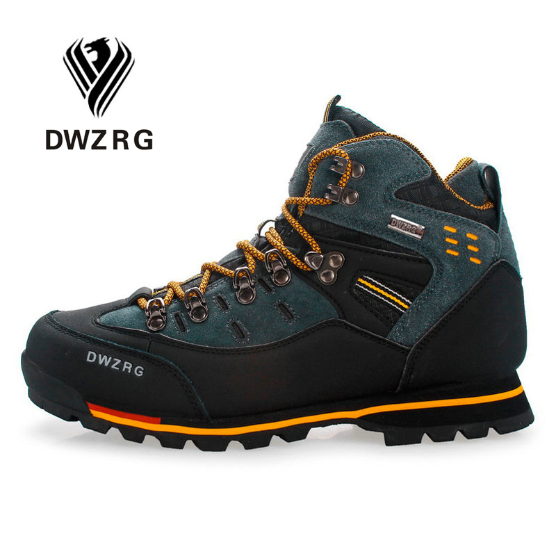 DWZRG Men Hiking Shoes Waterproof Leather Shoes Climbing & Fishing Shoes New Popular Outdoor Shoes Men High Top Winter Boots