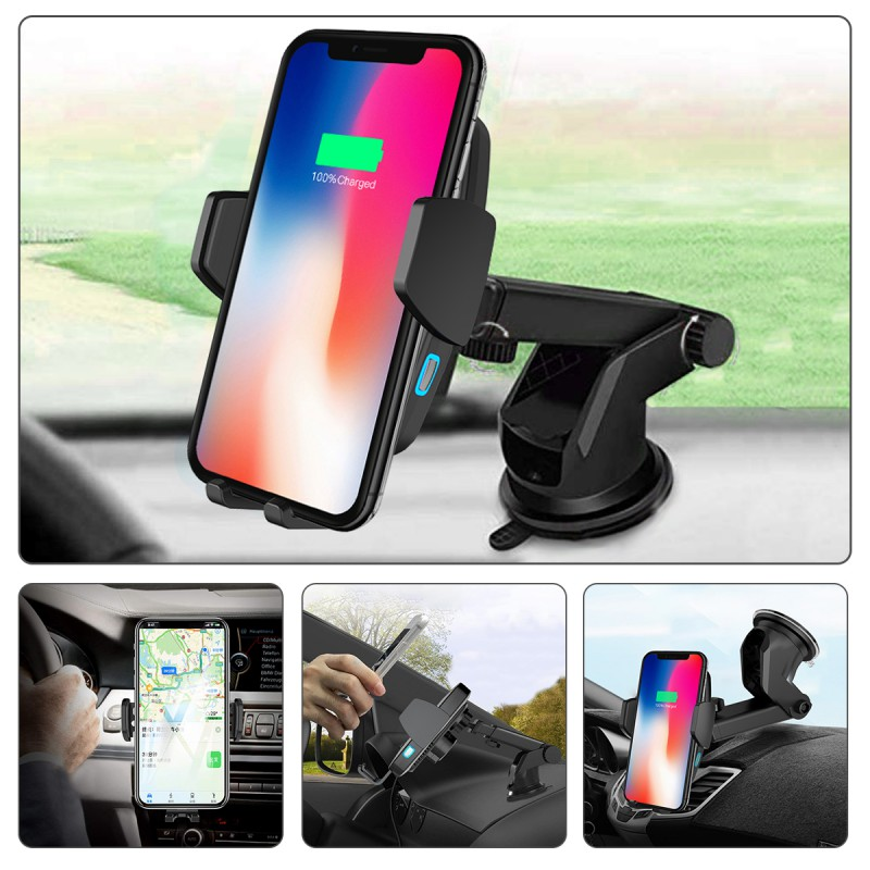 Phone-Holder Car-Charger Automatic-Clamping Wireless Car-Mount Samsung S10 For XS Xr-X-8