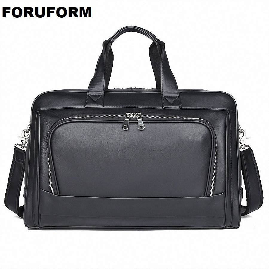 Men's Genuine Leather Briefcase 17 Inch Big Real Leather Laptop Tote Bag Cow Leather Business Bag Double Layer Messenger Bag