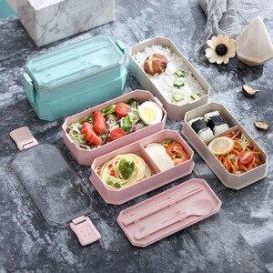Портативный Ланч-бокс для детей, 800 мл, для здоровья, Tapers Para Alimentos, пищевой контейнер, 2-слойная Пшеничная солома, Bento box